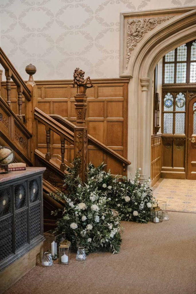 Staircase floral decoration ideas Hampton Manor