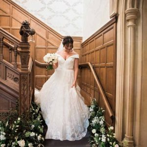 Staircase wedding flowers decorations meadow style Hampton Manor