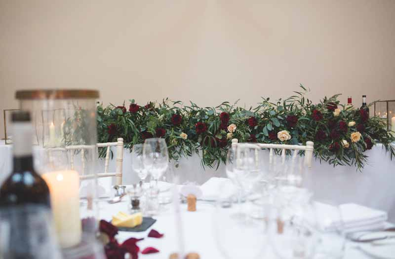 Top table wedding garlands winter wedding Blackwell Grange Passion for Flowers