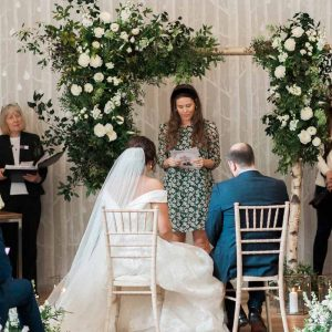 Wild natural wedding arch ceremony Hampton Manor