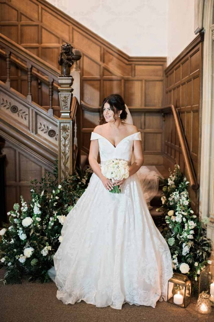 Wild natural wedding flowers staircases Hampton Manor