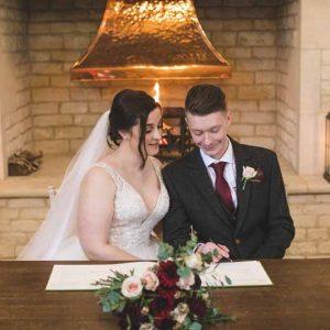 Winter wedding Blackwell Grange fireplace