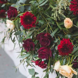 Winter wedding flowers deep red tones