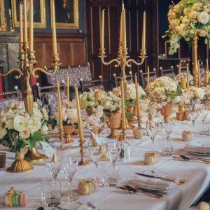 Eastnor Castle Wedding Florist Long Banquet Tables Gold Styling
