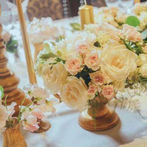 Eastnor Castle Wedding Florist Elegant Gold Cream Table Styling