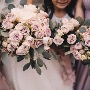 Blush pink rose dusky pink rose wedding bouquets