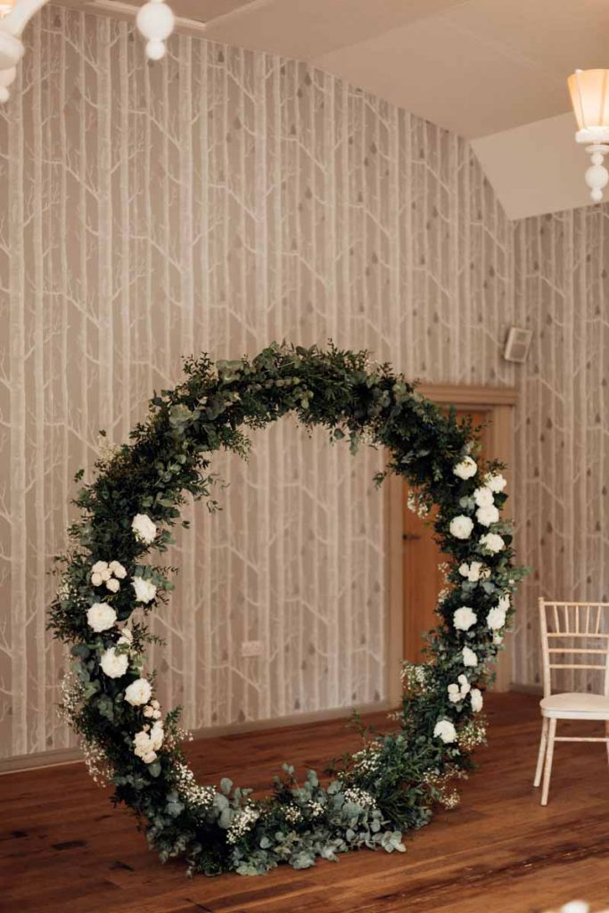 Floral Circle Backdrop wedding moongate Hampton Manor Passion for Flowers