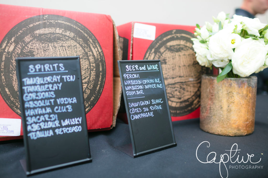 Blackboard signs for wedding bar menus