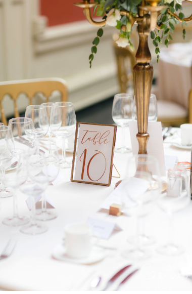 Brass photo frame wedding table numbers