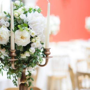Gold candelabra wedding centrepieces Hampton Court House Passion for Flowers