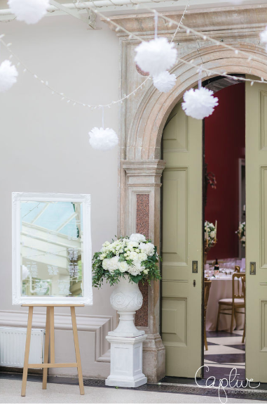 Hampton Court House Wedding Urns Archway Floral Ideas