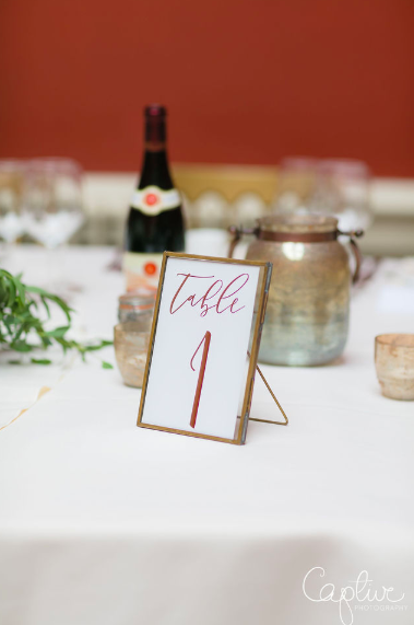 Wedding table numbers brass gold photo frames