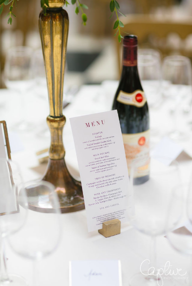 elegant wedding menus