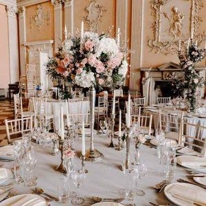 Candelabra wedding centrepieces grand venue Ragley Hall