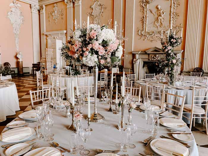 Candelabra wedding centrepieces grand venue Ragley Hall