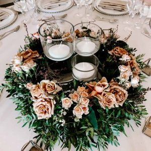 Ragley Hall Wedding Centrepieces Low Ring with Cylinder Candles Passion for Flowers