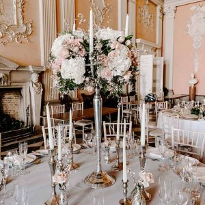 Ragley Hall Wedding florist Candelabra centrepieces Passion for Flowers