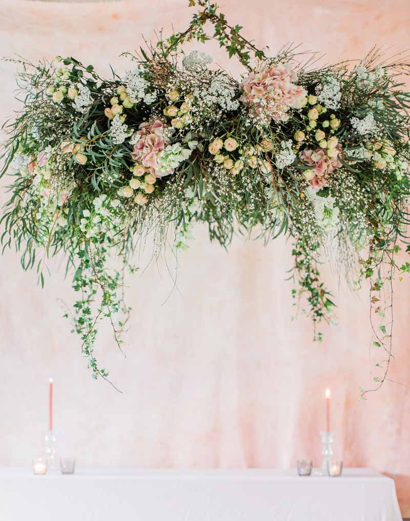 hanging floral ring wedding flowers chandelier