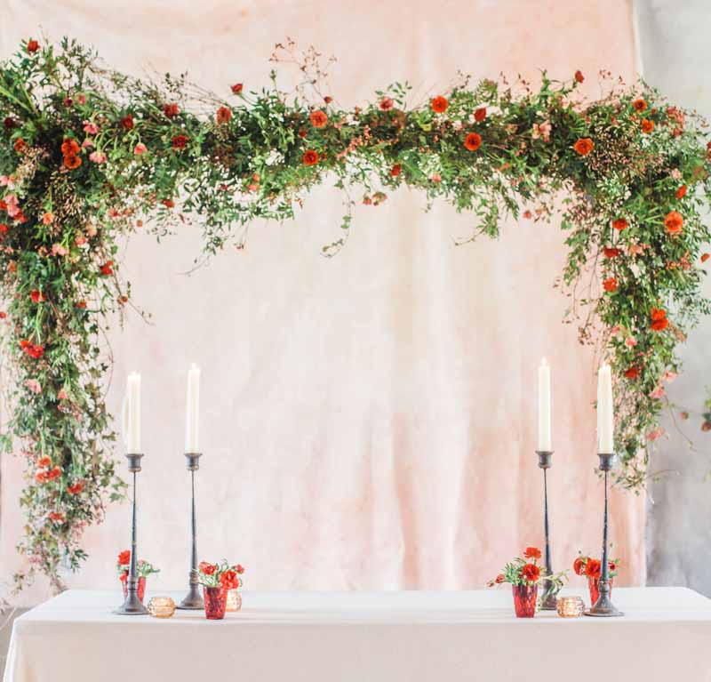 hanging wedding backdrop top table