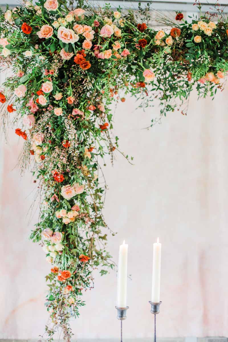 suspended hanging wedding flower arch floating