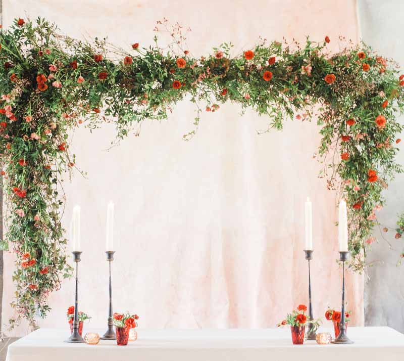 suspended floral backdrop top table