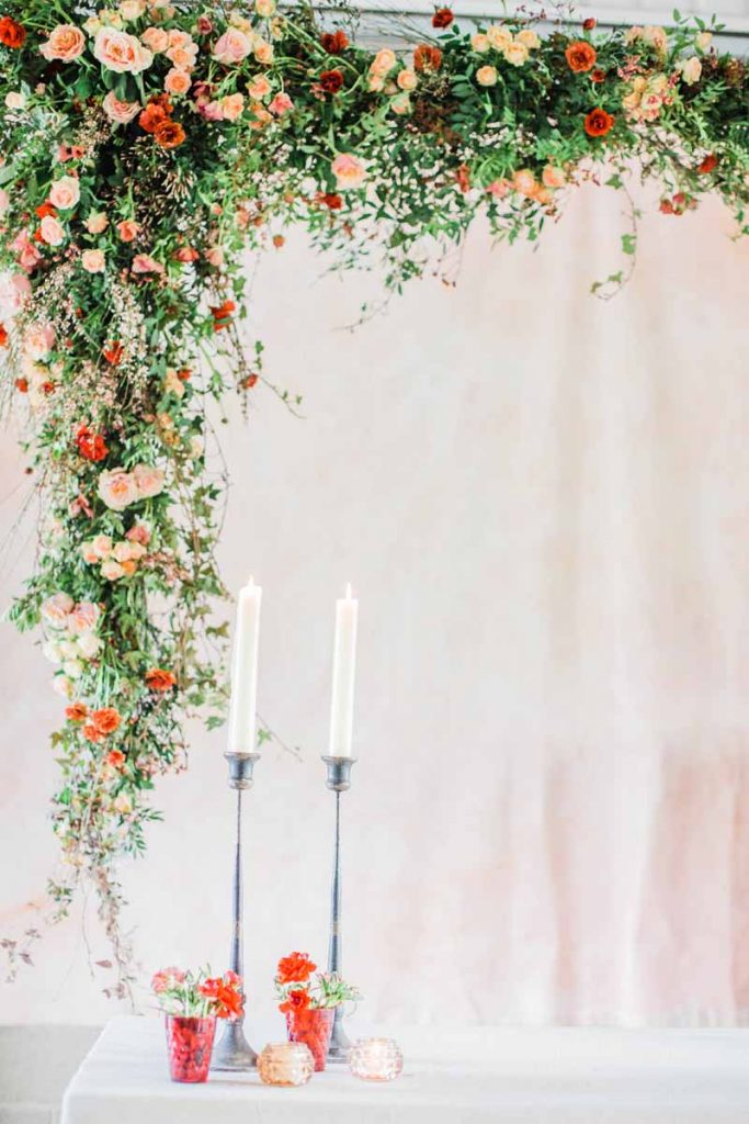 suspended wedding flower arch