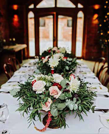 Organic-natural-low-centrepieces-pink-peach-Shustoke-Farm-Barns-wedding-florist-Passion-for-Flowers