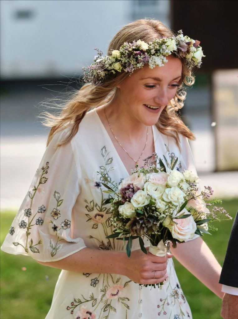 Micro wedding floral wedding dress bouquet flower crown to match