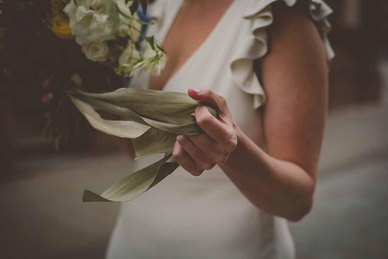 green ribbon wedding bouquets